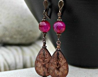 Bohemian Pink Chalcedony and Copper Teardrop Dangle Earrings - Antique Copper, Gemstone, Light Weight