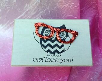 Chevron Print, Owl, Wood Box, Jewelry Box, Trinket Box, Gift Box