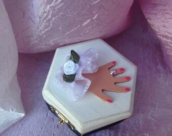 Ringbearer Box, Ring Bearer Box, Wedding Box, Engagement Ring Box,  Ring Box, Bride and Groom, Hexagon Shaped Trinket Box