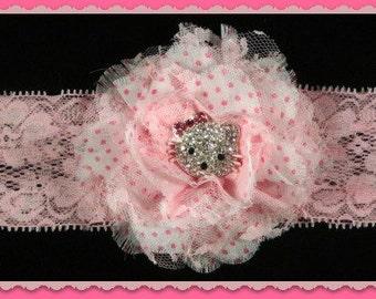 Pretty in Pink Sparkly Kitty ,baby headband,Christmas Headband, infant headband, photo prop,Holiday headband