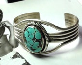 Veined Turquoise  Bracelet Navajo  Sterlng Silver  Made  by W T JOHNSON Navajo Territory Artist High Collectible Silver Mark