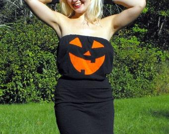 MADE TO ORDER Jack O Lantern Pumpkin Halloween Costume Womens Mini Dress