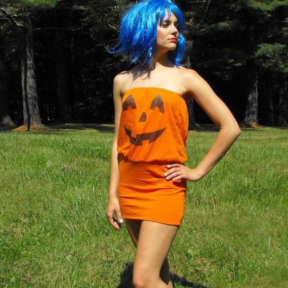Jack O Lantern Womens Halloween Costume Recycled OOAK