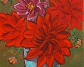 "Dahlias - Archival Print of Original Painting 8""x8"" with border"