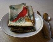 Cardinals Pinecones Dinner Napkins- set of 4 Cotton napkins