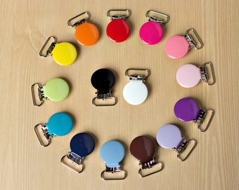 """50 ENAMEL - New 3/4"""" - suspender Clips Pacifier Mitten Fabric Dummy Clips  LEAD FREE Round"""