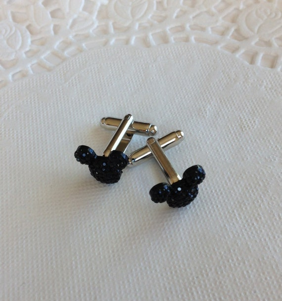 MOUSE EARS Cuff Links for Wedding Party in Dazzling Black Acrylic FREE Gift Box Included Groom Groomsmen Gift