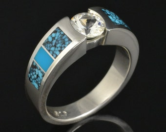 Turquoise Engagement Ring or Wedding Ring with White Sapphire Center in Sterling Silver