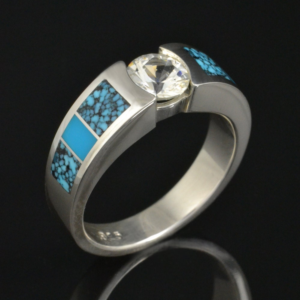 turquoise engagement ring or wedding ring with white sapphire. Black Bedroom Furniture Sets. Home Design Ideas