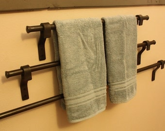 """Forged Iron Towel Bar. Choose From 18"""", 24"""", or 36"""". These also make fine Quilt Hangers or Pot Racks!!!"""