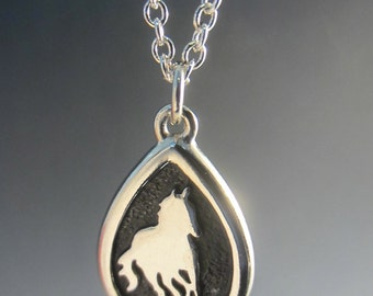 Engravable Galloping Horse Teardrop Necklace
