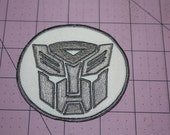 Silver Transformer Machine Embroidered Iron on Patch