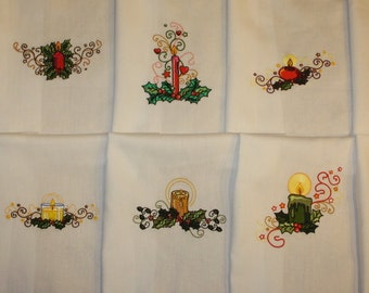 Holiday Candles Machine Embroidered Quilt Blocks Set