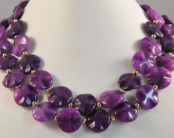 Purple Wavy Jade Necklace