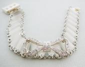 Vintage Bead Bracelet, Ice White, Rhinestone Bow Silvertone Czech Glass Tube Bracelet Fashion Jewelry