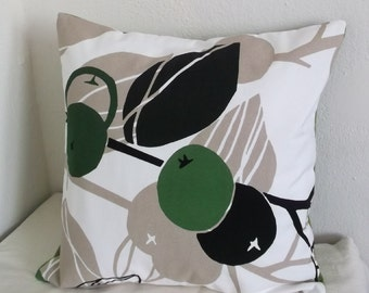 Tan Leaves with Green Pillow Cover 18x18