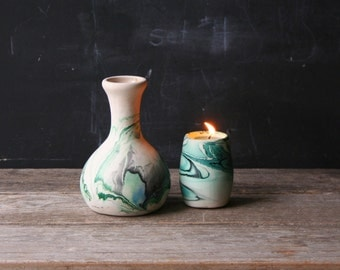 2 Vintage Nemadji Pottery Pieces A Vase and Candle Holder Green and Ivory From Nowvintage on Etsy