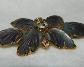 Vintage AB Rhinestone and Glass Leaf Gold Tone Brooch