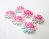 Vintage Plastic Flower Cabochon Pink White Roses Painted Lucite Japan 15mm pcb0297 (6)