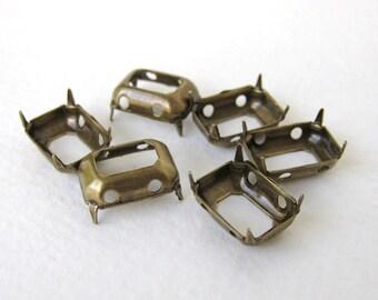 Prong Setting Antiqued Brass Ox Octagon Rhinestone Sew On Open Back 14x10mm set0186 (6)