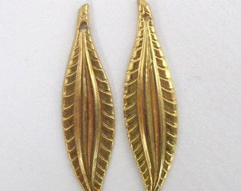 Vintage Brass Stamping Embossed Leaf Pendant Gold Drop Leaves 45mm vfd0241 (2)