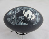 Emu egg carved panda scene Sale price