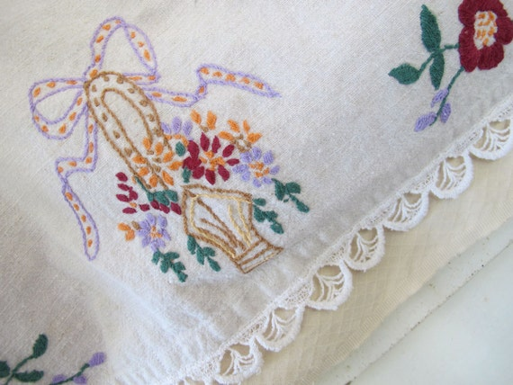 Basket embroidery wall hanging vintage linens repurpose