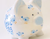 Nest Egg Piggy Bank - Personalized Piggy Bank - Bluebird Bank - Bird Lover Piggy Bank - Nature Theme Bank - with hole or NO hole in bottom