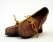 NOS 80s Prepster Flying Ace Leather Top Siders Boat Shoes 5.5, 6