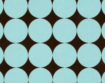 SALE  Blue and Brown Disco Dot from Michael Miller 1 yard