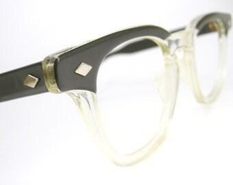 Vintage 50s Eyeglass Frames Mens : Vintage Mens 50s Horn Rim Eyeglasses Frames Fades Mid Century