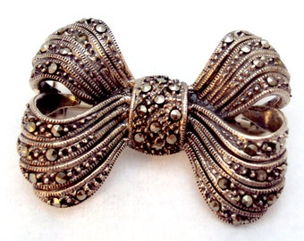 Sterling Silver Marcasite Vintage Bow Pin, Brooch