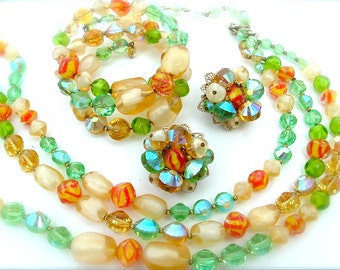 Alice Caviness Designer Jewelry Set Brooch Earrings Bracelet Lemon Lime Tangerine Aqua Glass Bead
