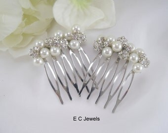 Set of 2 Small Pearl and Rhinestone Combs