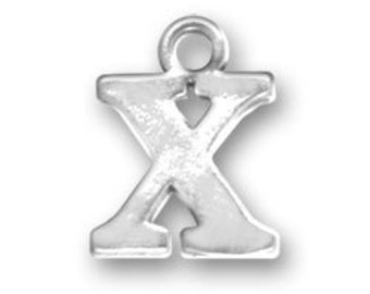 Sterling Silver Letter X Charm, Initial Charm