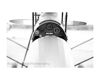 Biplane,Fine Art Photography,Minimal home decor,Black and White,Aviation,Historical,Nostalgia,dramatic,brigt white,simple,clean,home decor