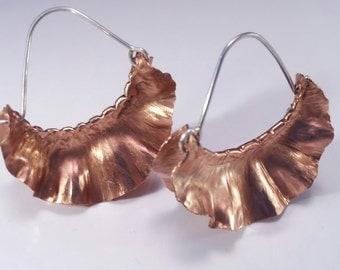 Handmade Copper Ruffle Earrings - Foldformed Earrings