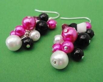 Black, White & Fuschia Cluster Earrings