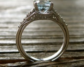 Aquamarine Engagement Ring and Perfectly Matching Wedding Wrap Band in 14K White Gold with Diamonds Size 7.75