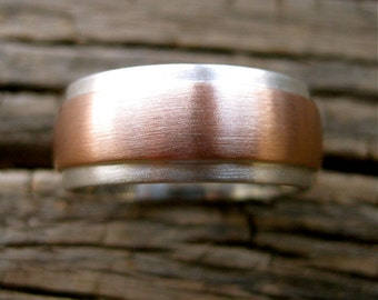 Finger Print Wedding Band in Sterling Silver with Center Strip in 14K Rose Gold with Matte Finish and Custom Text Engraving Size 8