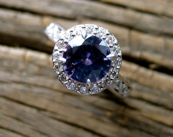 Mauve Purple Sapphire Engagement Ring in 14K White Gold with Scrolls and Diamonds Size 4