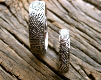 Palladium Finger Print Wedding Rings with Glossy and Matte Finish Size 11 & 5