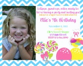 Candy shop chevron photo birthday invitation, Customizable, printable, digital file