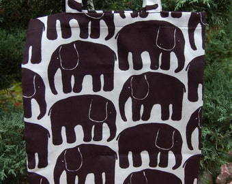 Cute Elephant shopping magazine tote, black and white, fun, Finlayson, Finland