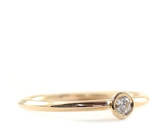 Engagement Ring, 3mm Diamond Ring, Diamond Ring, white Diamond Ring, 14K Gold  Diamond Ring, Tula Jewelry.