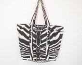 Tote zipped vegan shopper zebra print cotton lined with interior zipped pocket handmade