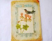 "Hand Printed Linen Fabric, DIY Home Decor Framed Fabric, Rectangle Panel, Vintage Panel - Retro Vintage Look French Standing Bird (6""x7.4"")"