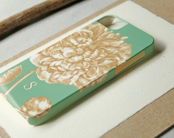 iPhone 6 Case Monogram, Mint Green and Gold Peony iPhone Case, Floral iPhone 5S,  Case iPhone 6 Plus Case