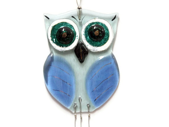 owl suncatcher  Windchime  mobile , Blue Sky  fused  Glass garden artwork