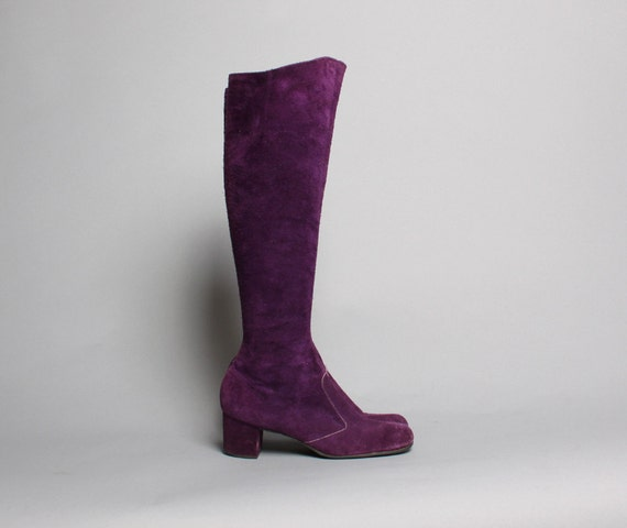 60s purple boots knee high suede by luckyvintageseattle
